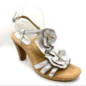 Born Crown silver floral leather heels